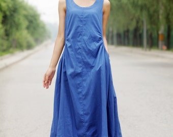 Summer dress Loose fitting Long Sundress Maxi Dress in blue C155