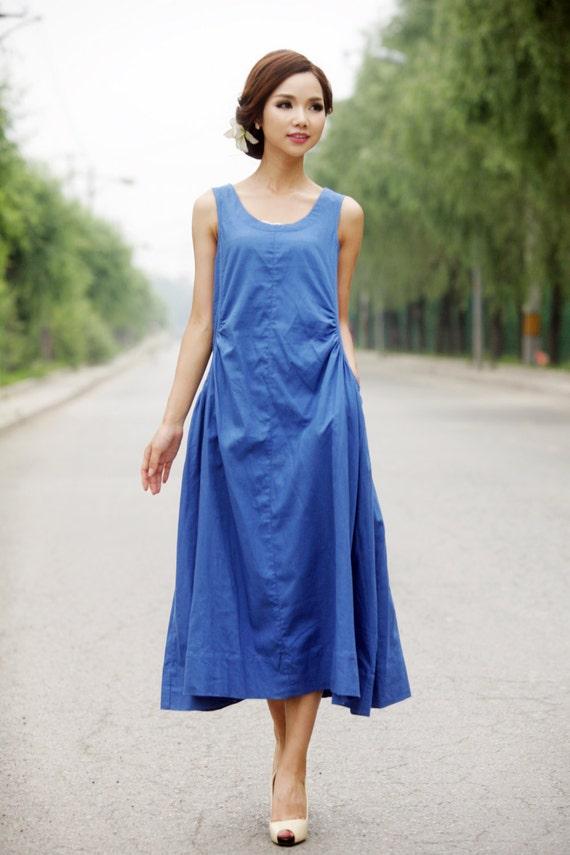 Summer dress Loose fitting Long Sundress Maxi Dress in blue C155