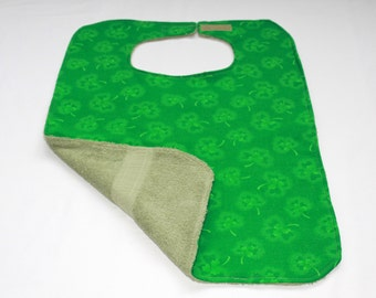 Adult Bib/Clothes Protector  -  Reversible Clothes Protector - St. Patricks Day Adult Bib - Shamrock Green