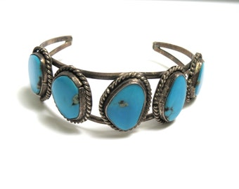 Vintage Turquoise Bracelet - Sterling Silver Turquoise Cuff - Weight 22.5 Grams - Southwestern # 1930