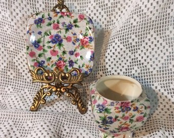 Vintage Royal Winton Chintz Plate and Jar, 'Old Cottage Chintz', Made in England, 1930s