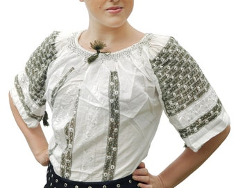 Romanian ethnic white blouse with black embroidery