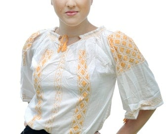 Romanian ethnic white blouse with yellow embroidery