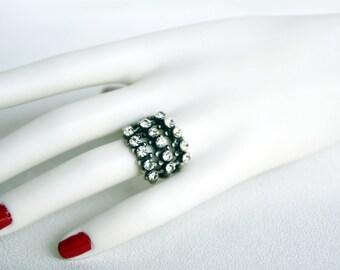 swarovski clear crystal tibetan silver plated ring wedding jewelry bridal jewelry bridesmaid gift bridesmaids jewelry