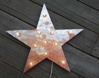 "18"" Rusted metal star, light, distressed, wedding, vintage chic, decor"