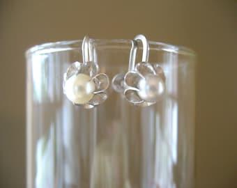 Silver Pearl Screw Back Earrings - Vintage Silver Screw Back Earrings - 1940's Jewelry
