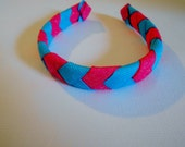 Pink and turquoise woven glitter headband for American Girl doll and 18 inch dolls