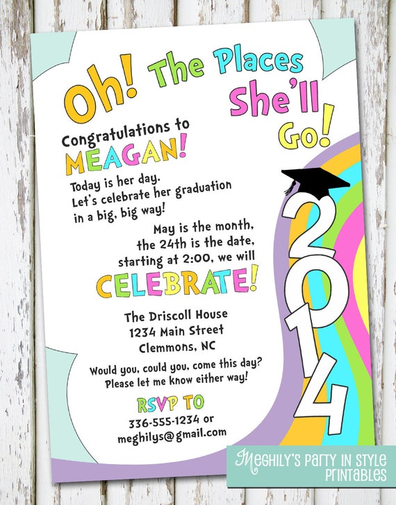 oh the places you u0026 39 ll go graduation invitation by meghilys