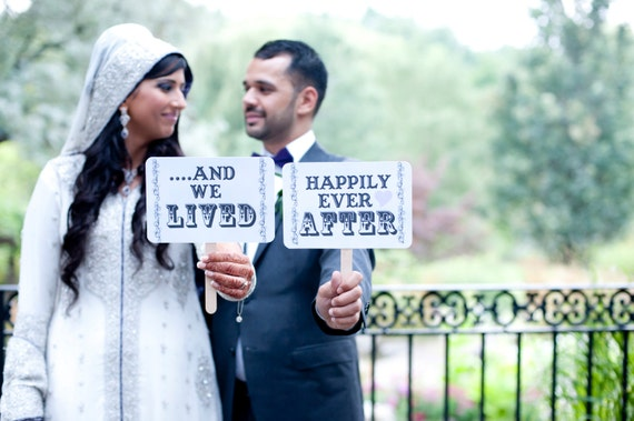 my ORIGINAL -Love Him / Love Her/ And We Lived Happily Ever After- Double Sided Wedding Photo Props - White Paper Goods- Set of 2