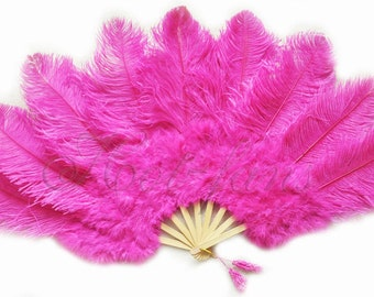 "24""x 43"" Hot Pink Marabou & Ostrich Feathers Hand Fan With Bamboo Staves"