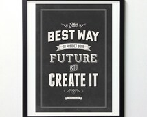 """Abraham Lincoln Quote Art """"Create Your Future"""" Vintage Signs, Typography Wall Art, Motivational Poster, Inspirational Print, Giclee Print"""