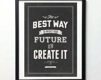 "Abraham Lincoln Quote Art ""Create Your Future"" Vintage Signs, Typography Wall Art, Motivational Poster, Inspirational Print, Giclee Print"