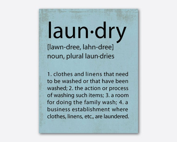 Items Similar To Typography Wall Art Laundry Definition
