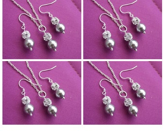 Rhinestone & pearl bridesmaid jewelry, wedding jewelry, gray pearl bridesmaid jewelry set of 6, Bridesmaid gift,bridesmaid necklace earrings