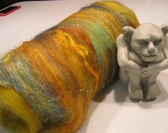 WITCHY WOMAN 4.0 oz, fiber art batt for spinning, carded wool, textured bling batt, Angelina, sari silk, roving, felting fiber, fiber art