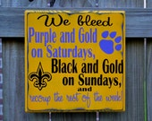 11 x 11 LSU Tigers, New Orleans Saints, FOOTBALL, Custom wood sign, Geaux Tigers, Football Sign, Man Cave