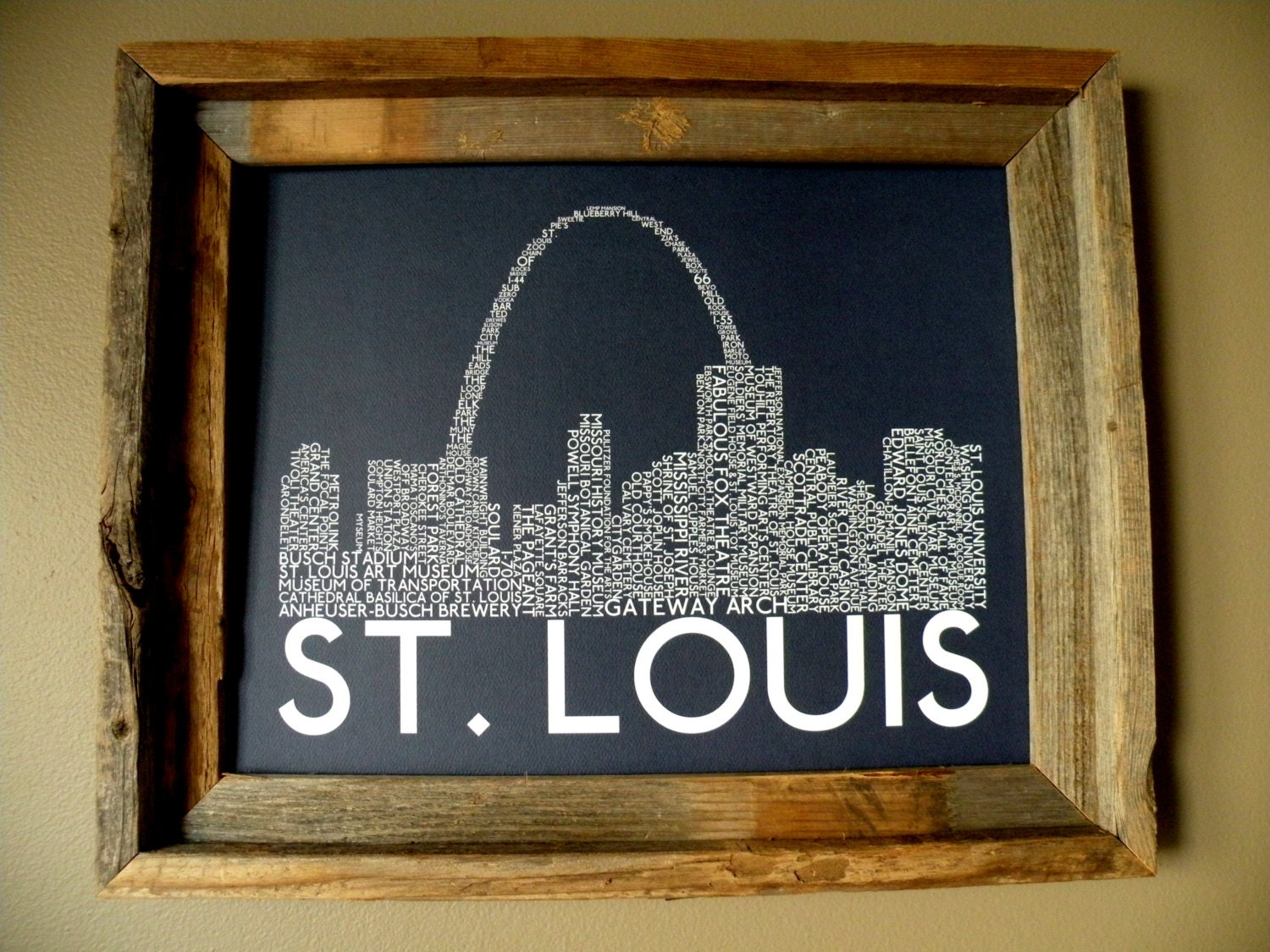 Color art st louis mo - Color Art Printing St Louis St Louis Skyline Word Art Print Dark Blue Unframed