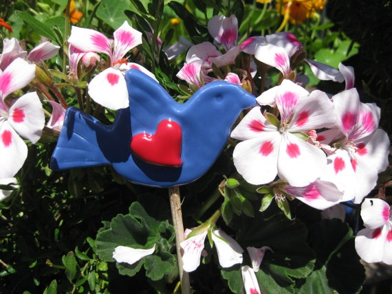Lovely Singing Bluebird                Gardeners Gift, Lovebird, Bird Plantstake, Lovebird Gift, Bluebird Plant Stake, Love Gardening