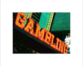 "City Photography- Downtown Las Vegas ""Gambling"" Neon Lights Photograph- 5 x 7 Matted Metallic Print"
