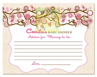 Birds Advice Card for new mom - Pink and brown Birds and flowers Mom Advice Card - Advice card for mommy to be - Pink Birdie mom's advice
