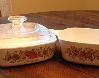 Vintage L'Echalote Spice of Life Fall Decor Corning Ware Dishes...