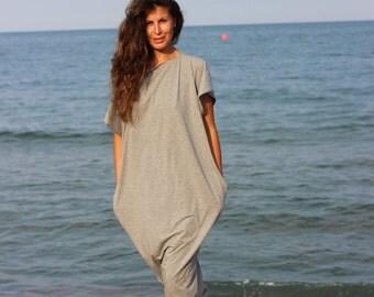 Light Grey Maxi Dress, Cotton Knit Caftan Dress, Plus Size Dress, Beach Dress, Plus Size Clothing, Sizes 1X through 4X