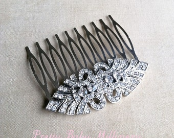 Rhinestone hair comb, Art deco hair accessories, Bridal Hair Comb, wedding hair comb, Art Deco bridal comb head piece rhinestone EYE SILVER