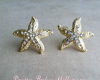 Beach Wedding Earrings  - beach wedding jewelry, Starfish earring, Rhinestone stud post crystal sea star accessories accessory GOLD