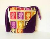 "Ethnic Bohemian Victorian Postage Stamps Bag Purse ""Ineda"" Queen UK Hippie Bag Velvet Purple Goa Brocade Messenger Bag British Renaissance"