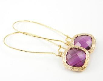 Purple Long Drop Earrings, Crystal Amethyst Drop in Long Kidney Wire, February Birthstone Faceted Stone Gold Dangle Earrings |PJ2-2