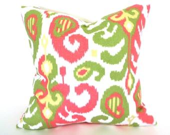 Pillow Cover ANY SIZE Decorative Pillow Cover Pink Pillow Pink Ikat Pillow Suburban Ikat Rasul Pink and Green