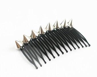 Silver Hair Comb Studded Barrette Pierced Hair Styles Spikes Hair Combs for Her Punk Hair Accessories Hair Clip Insert Silver Bun Cuff