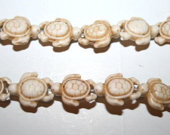 White Turquoise, Magnesite, Carved Turtle Gemstone Beads