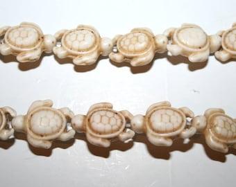 White Turquoise, Magnesite, Carved Turtle Gemstone Beads
