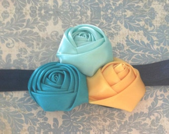 Satin Rolled Rose Headband in Aqua, Turquoise and Yellow- Ready to Ship