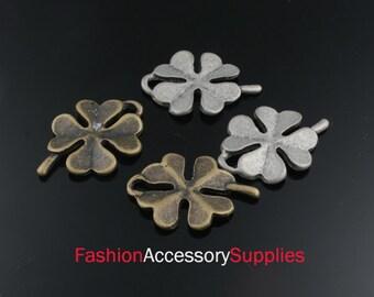 4pcs-25mm Antiqued Bronze,Silver Brass Four-Leaf-Clover charms,Pendants (A483)