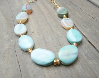 Pale Green Fire Agate Gemstone Necklace with Gold Accents.