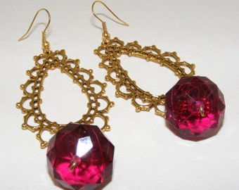 Fabulous Filigree Earrings with Faceted Ruby Lucite