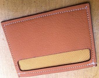 Leather Card Wallet, Minimalist, Mustard w Gold Lining