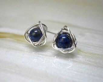 Tiny Stud Earrings, Blue Post Earrings, Small Stud Earrings, Lapis Lazuli Earrings, Bridesmaids Jewelry