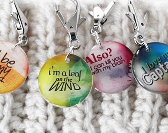Firefly Quotes Removable Stich Markers Knitters or Crocheters Resin Charms Set of 4 Secret Santa Gift