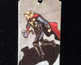 Thor Upcycled Comic Book Dog Tag, Includes Necklace or keychain