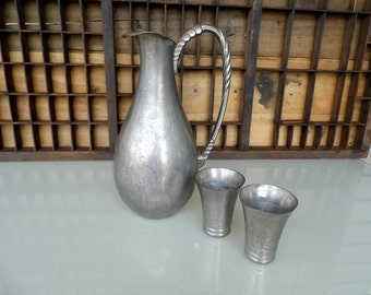 Vintage Dutch Pewter Pitcher/Ewer with Two Pewter Cups, Royal Holland Pewter, Daalderop Pewter