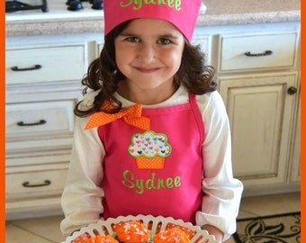 Gift Set - Personalized Girls Cupcake and Name Apron and Matching Chef Hat - Colorful Hearts Applique Childs Kids Birthday Party Hot PInk