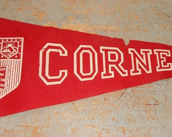 Vintage Pennant, Cornell, Felt, Flag, Red, Wall Decor, Collectibles, Large Pennant