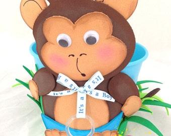 Safari centerpiece metal bucket/ monkey / Baby Shower / Its a Boy