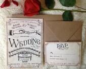 Elegant Wedding invitation. Rustic wedding invitation. Unique wedding invitation. Wedding ceremony invitation. Vintage style wedding invites