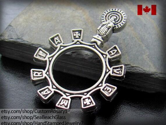 Rosary Ring, Ave Maria Rosary Ring, Catholic Jewelry,  Baptism Godparents Gift, Travel Rosary, Pocket Rosary, Car Rosary