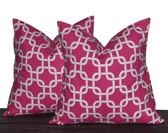 """26"""" Pink and White Gotcha Trellis Pillow Covers - TWO PILLOW COVERS - 26x26 Euro Pillow Cover Set"""