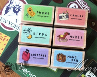 HQ Travel Stamp Set - Rubber Stamp - Diary Stamp - 6 Styles in